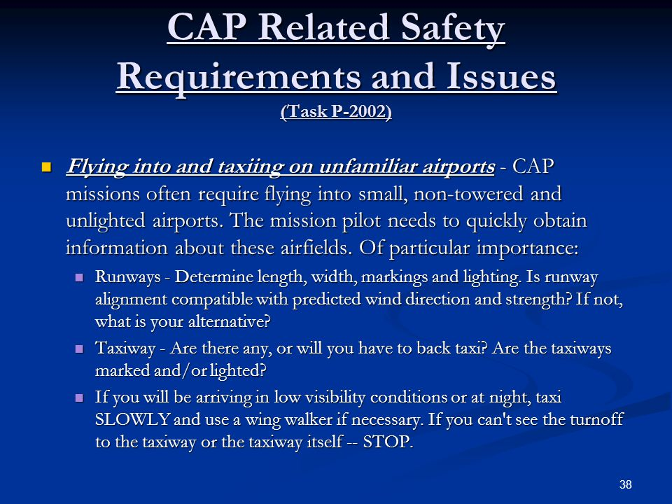 CAP Related Safety Requirements and Issues (Task P-2002)