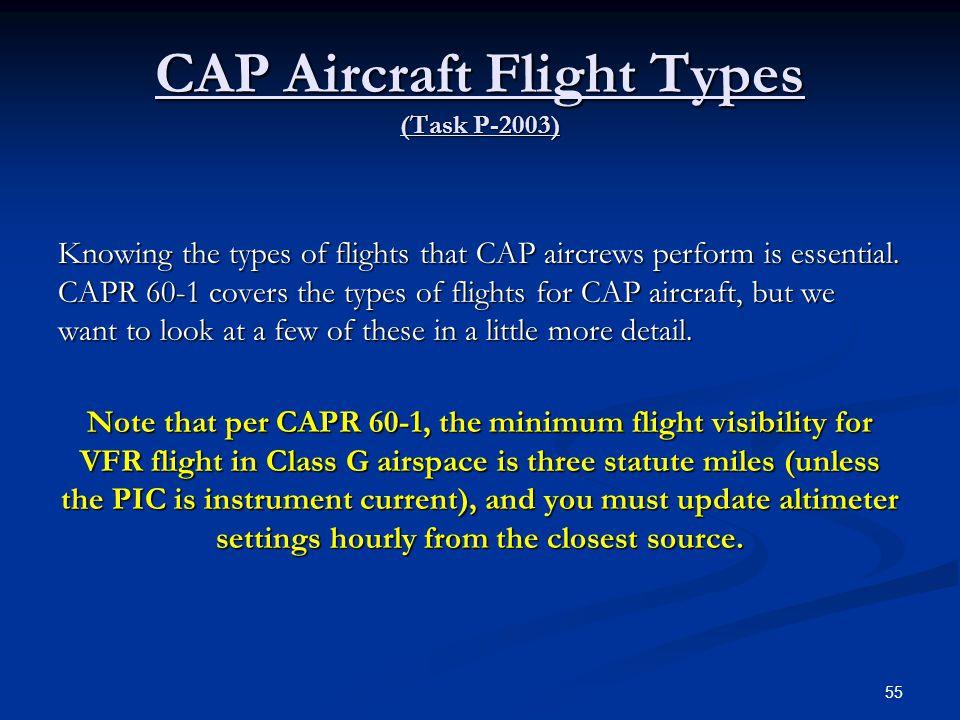 CAP Aircraft Flight Types (Task P-2003)