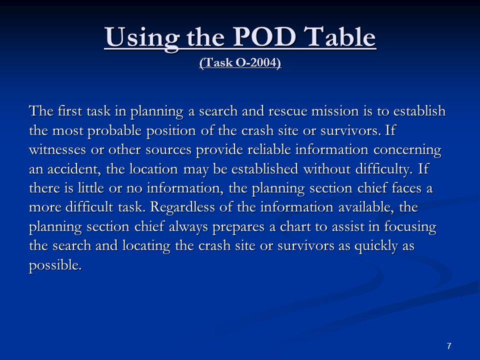Using the POD Table (Task O-2004)