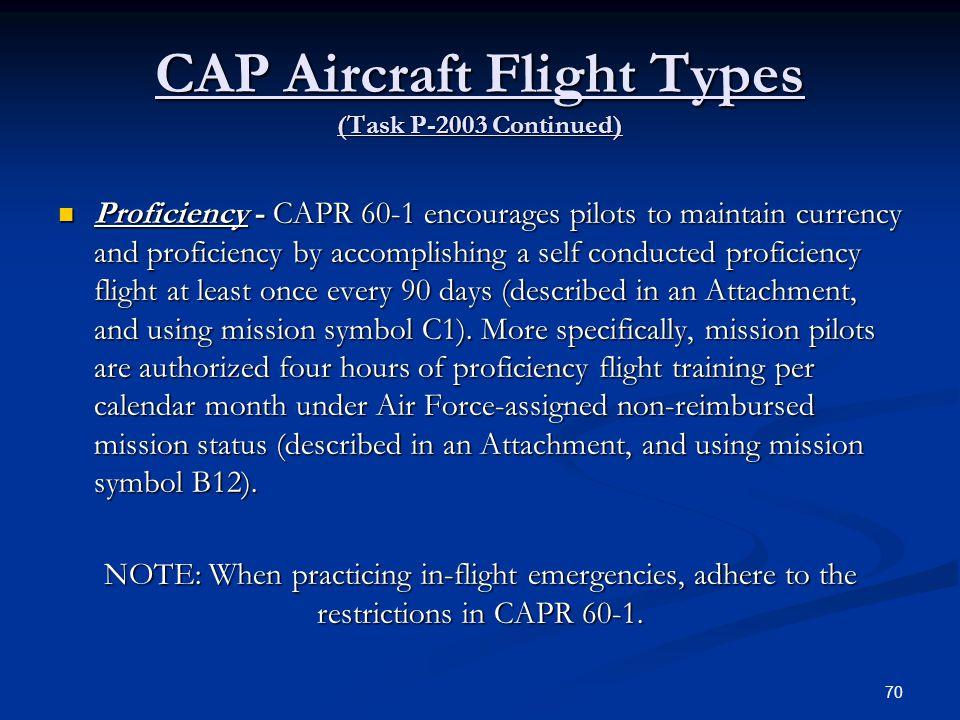 CAP Aircraft Flight Types (Task P-2003 Continued)