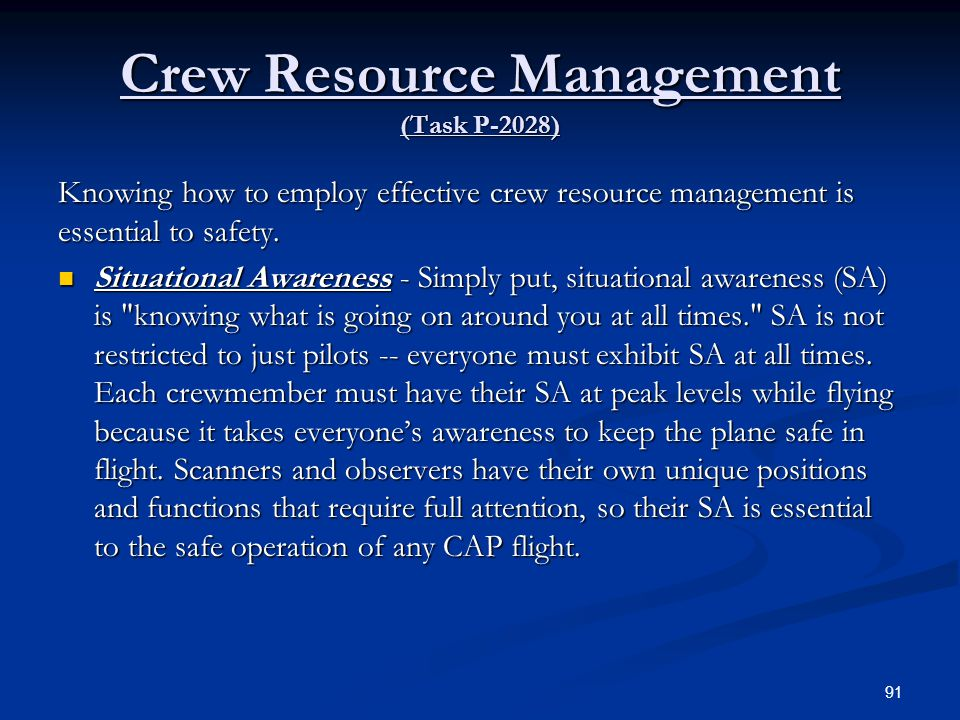 Crew Resource Management (Task P-2028)