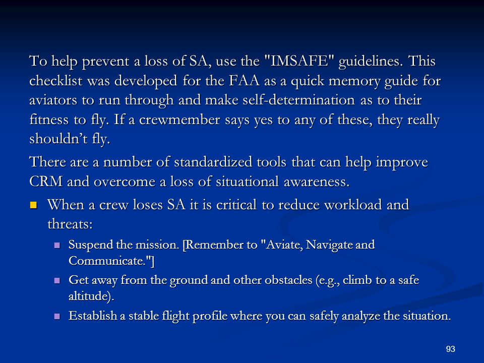 When a crew loses SA it is critical to reduce workload and threats: