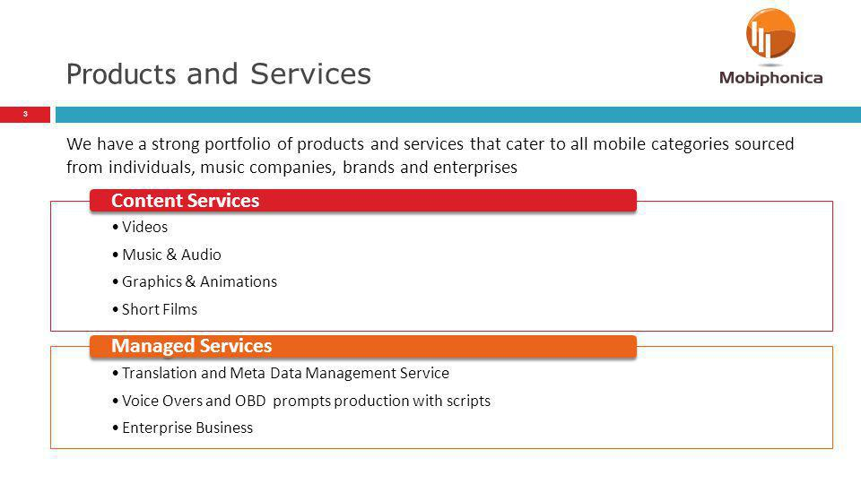 Products and Services Content Services Managed Services