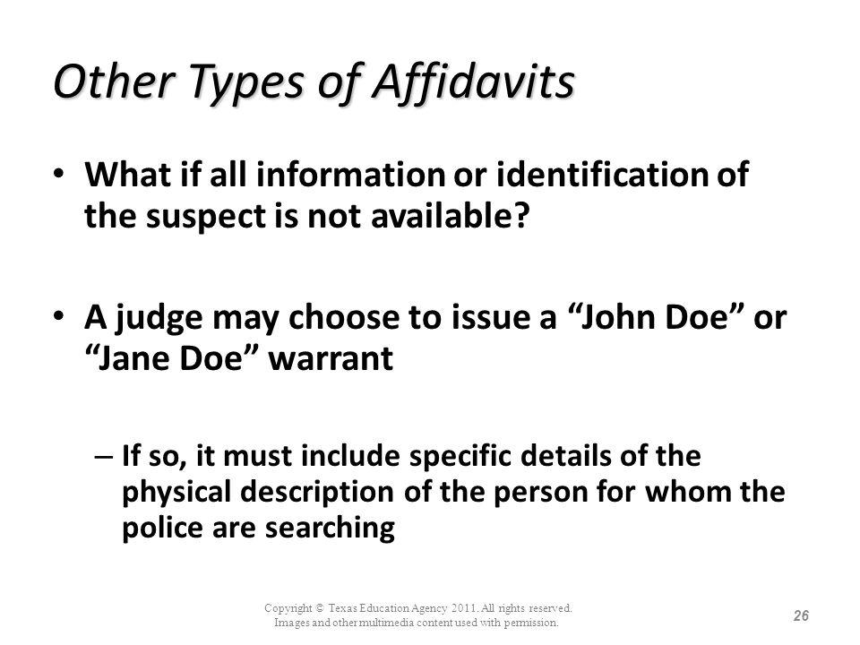 Other Types of Affidavits