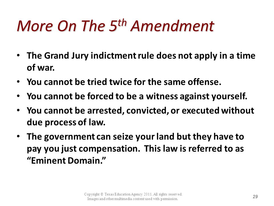 More On The 5th Amendment
