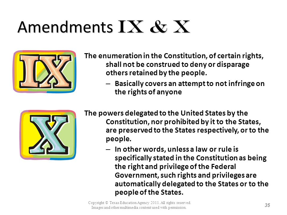 Amendments Ix & X The enumeration in the Constitution, of certain rights, shall not be construed to deny or disparage others retained by the people.
