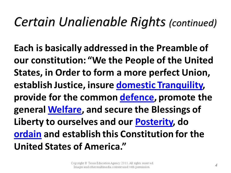 Certain Unalienable Rights (continued)