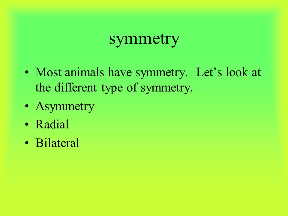 symmetry Most animals have symmetry. Let's look at the different type of symmetry. Asymmetry. Radial.