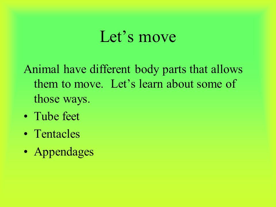 Let's move Animal have different body parts that allows them to move. Let's learn about some of those ways.