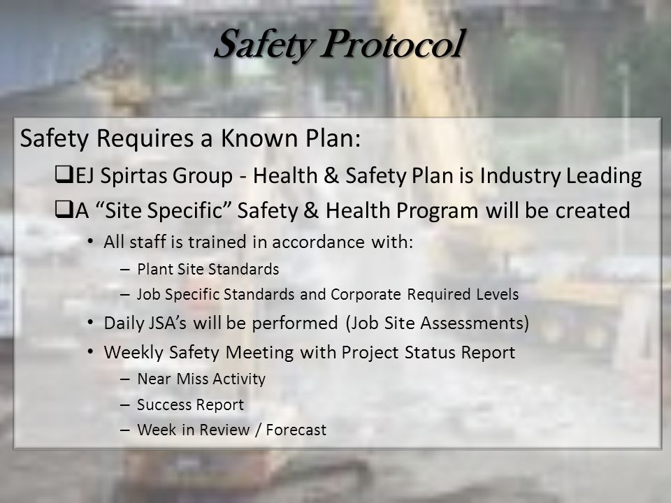 Safety Protocol Safety Requires a Known Plan: