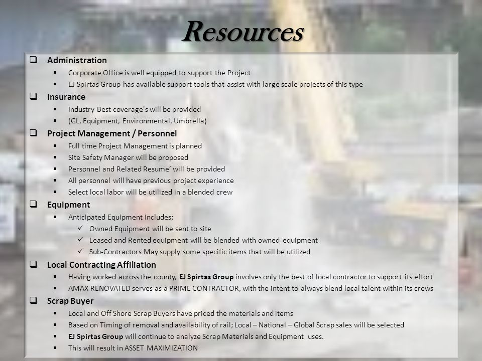 Resources Administration Insurance Project Management / Personnel