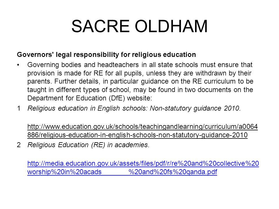 SACRE OLDHAM Governors legal responsibility for religious education