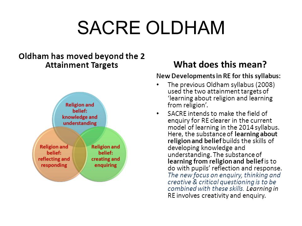 Oldham has moved beyond the 2 Attainment Targets
