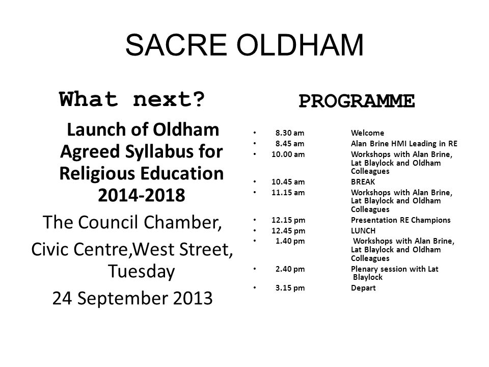 Launch of Oldham Agreed Syllabus for Religious Education 2014-2018