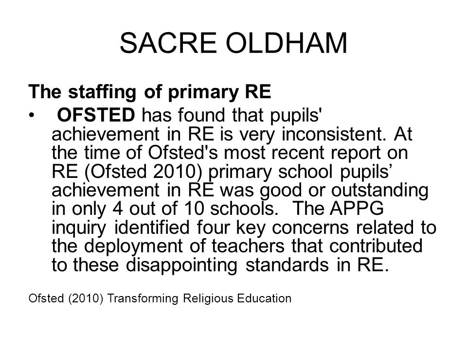 SACRE OLDHAM The staffing of primary RE