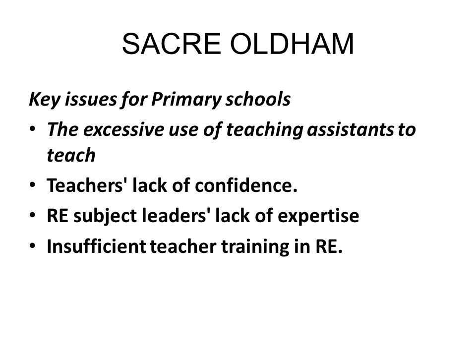 SACRE OLDHAM Key issues for Primary schools