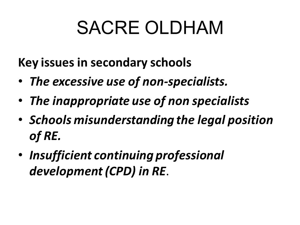SACRE OLDHAM Key issues in secondary schools