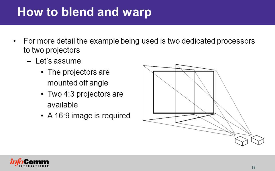 How to blend and warp For more detail the example being used is two dedicated processors to two projectors.
