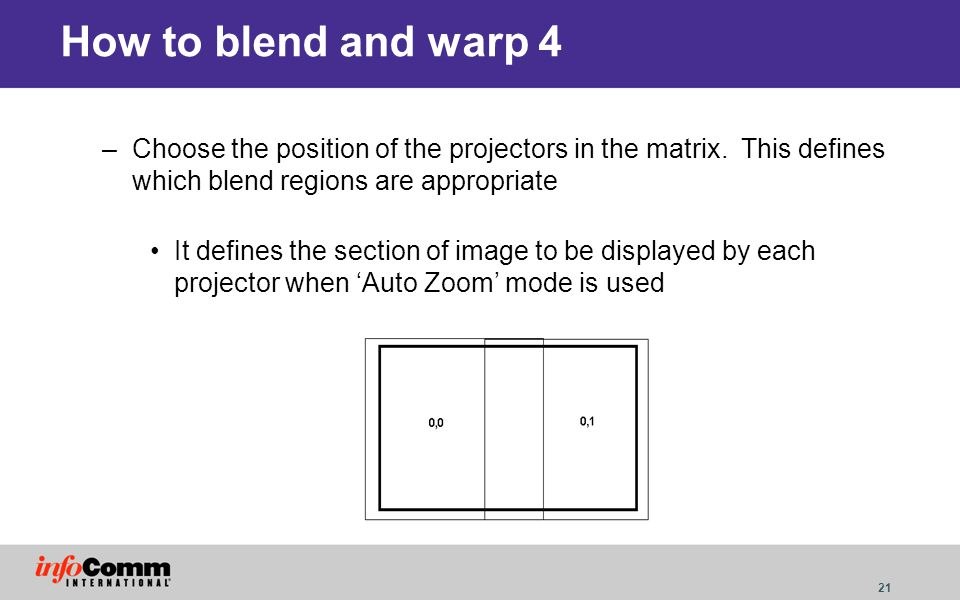 How to blend and warp 4 Choose the position of the projectors in the matrix. This defines which blend regions are appropriate.