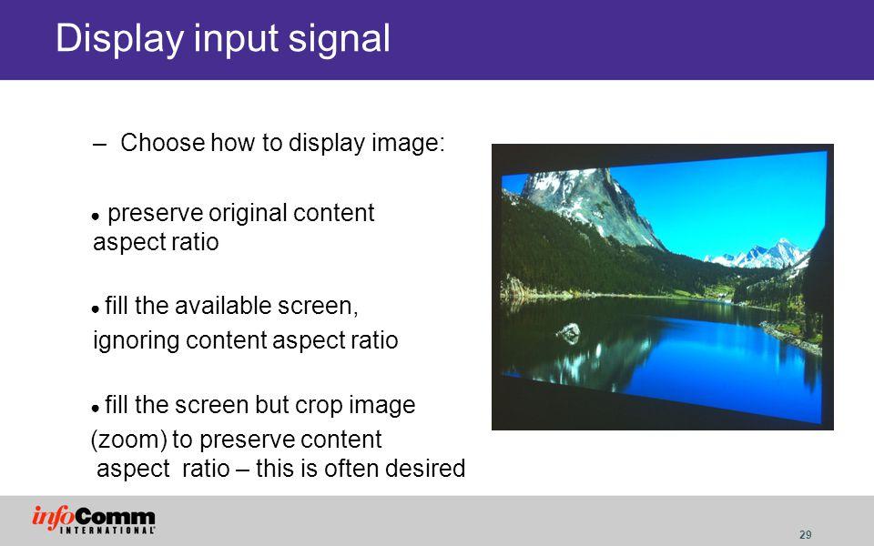 Display input signal Choose how to display image: