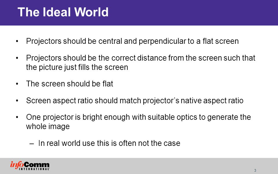 The Ideal World Projectors should be central and perpendicular to a flat screen.