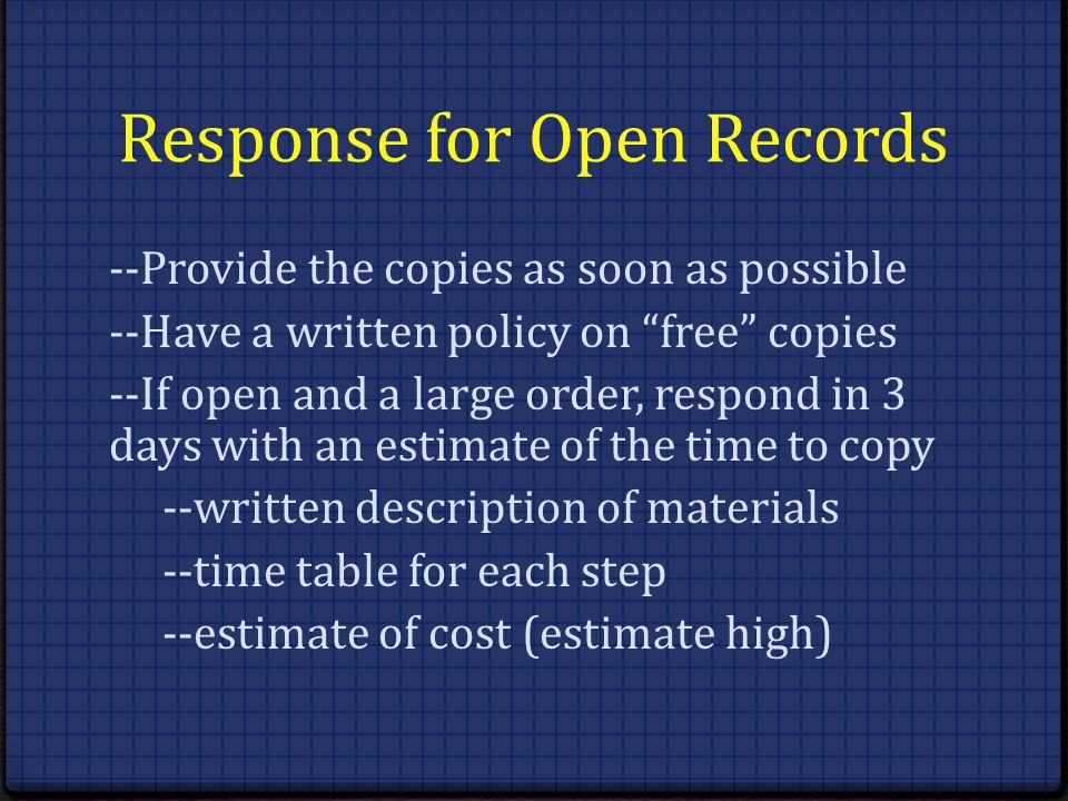 Response for Open Records