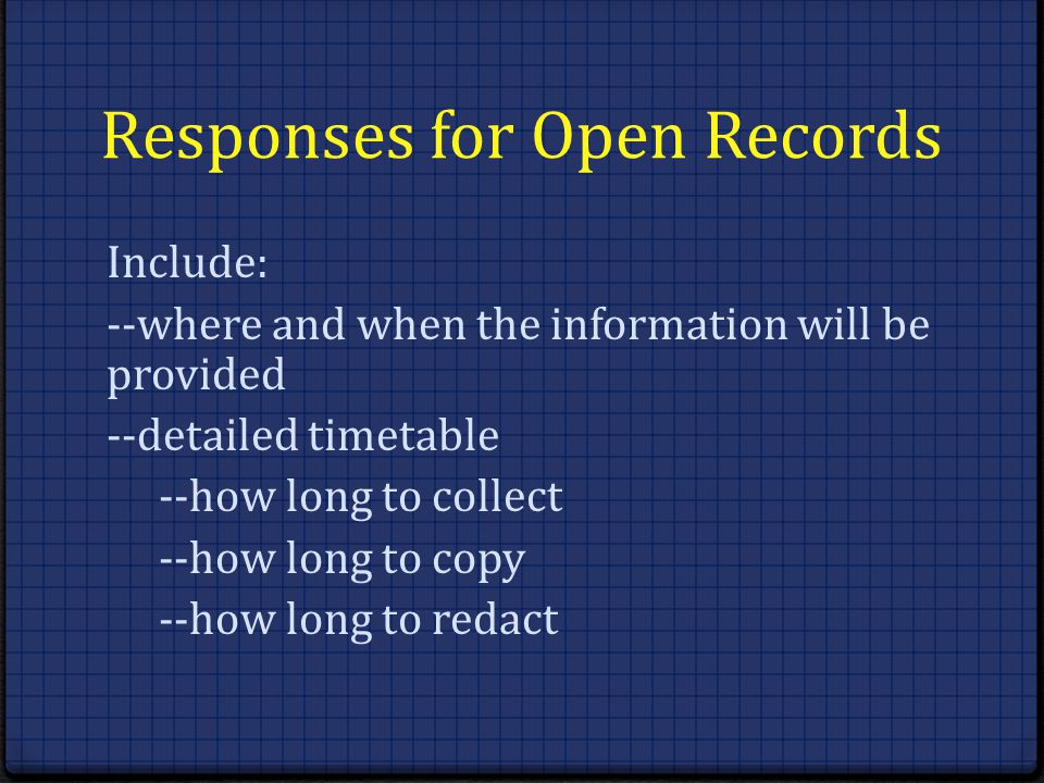 Responses for Open Records