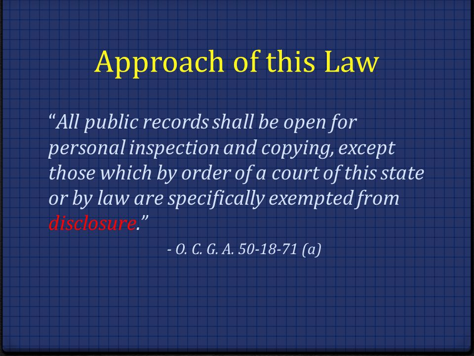 Approach of this Law
