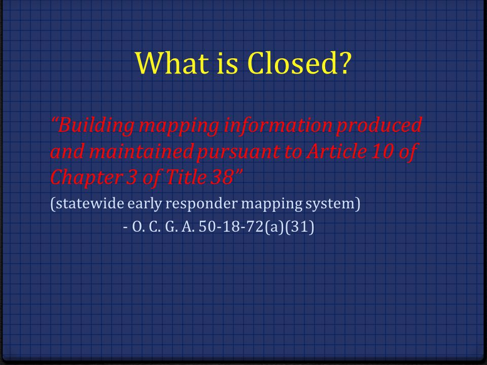 What is Closed Building mapping information produced and maintained pursuant to Article 10 of Chapter 3 of Title 38