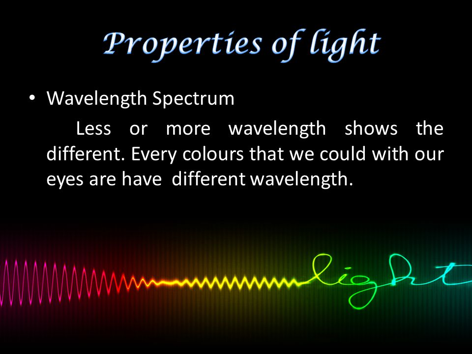 Properties of light Wavelength Spectrum