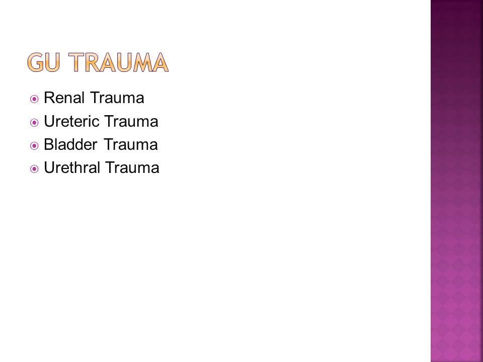 Gu trauma Renal Trauma Ureteric Trauma Bladder Trauma Urethral Trauma