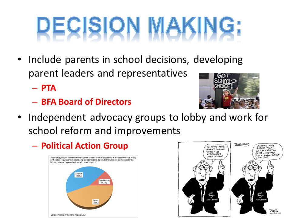 DECISION MAKING: Include parents in school decisions, developing parent leaders and representatives.