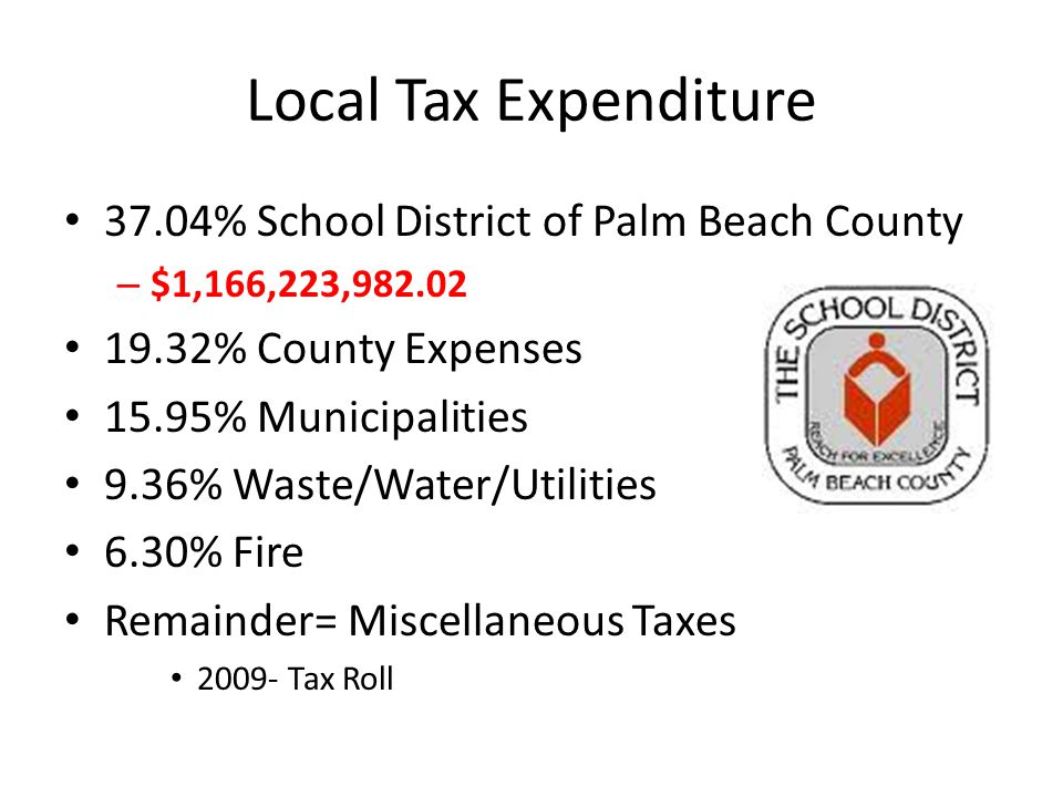 Local Tax Expenditure 37.04% School District of Palm Beach County