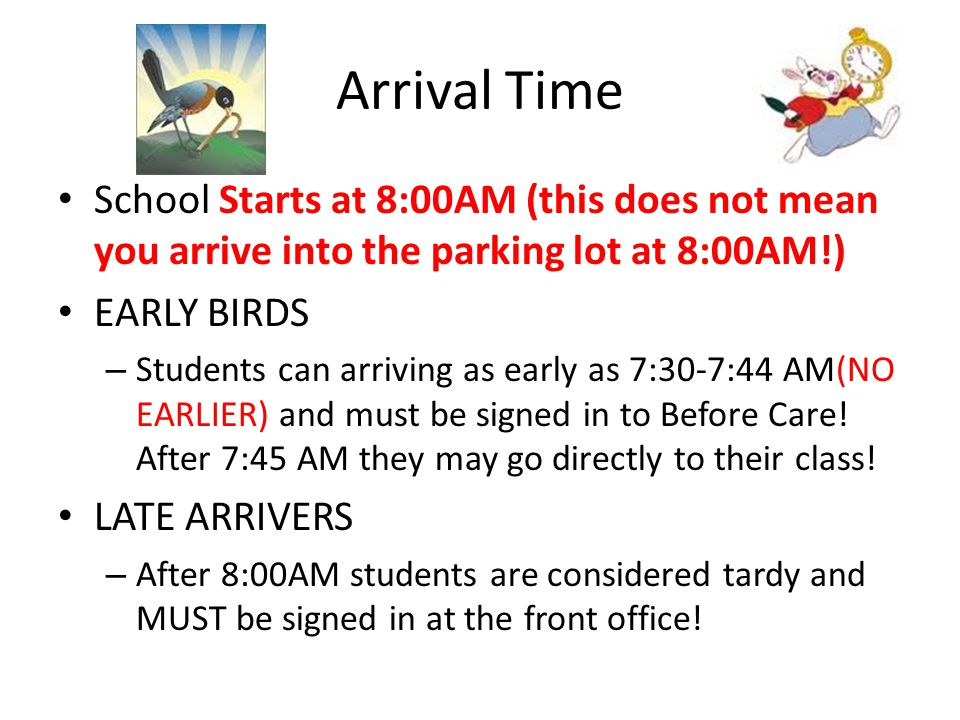 Arrival Time School Starts at 8:00AM (this does not mean you arrive into the parking lot at 8:00AM!)