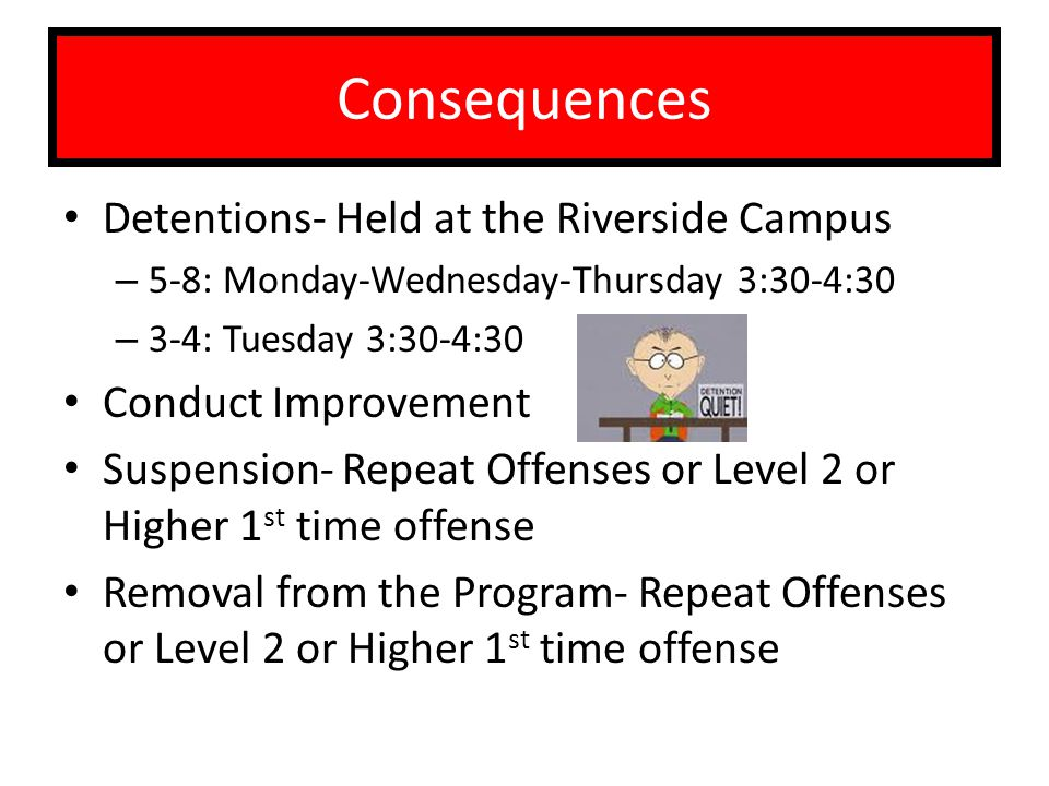Consequences Detentions- Held at the Riverside Campus