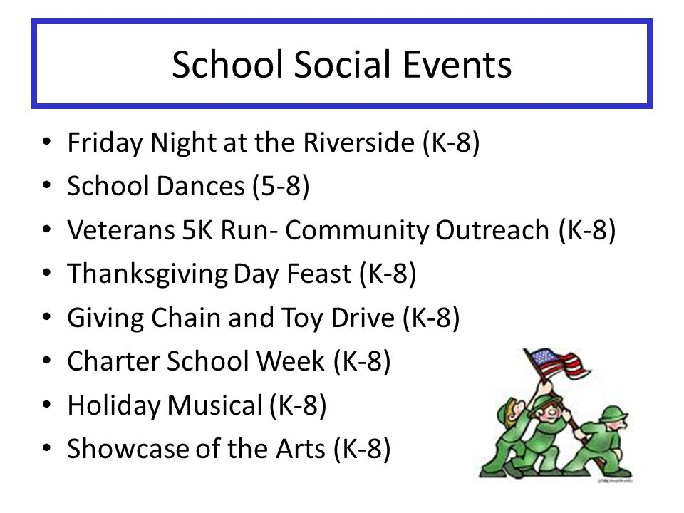 School Social Events Friday Night at the Riverside (K-8)