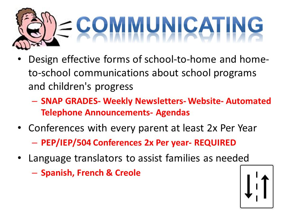 COMMUNICATING Design effective forms of school-to-home and home-to-school communications about school programs and children s progress.