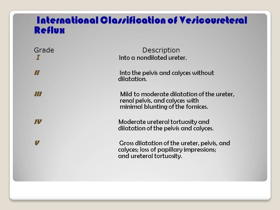 International Classification of Vesicoureteral Reflux