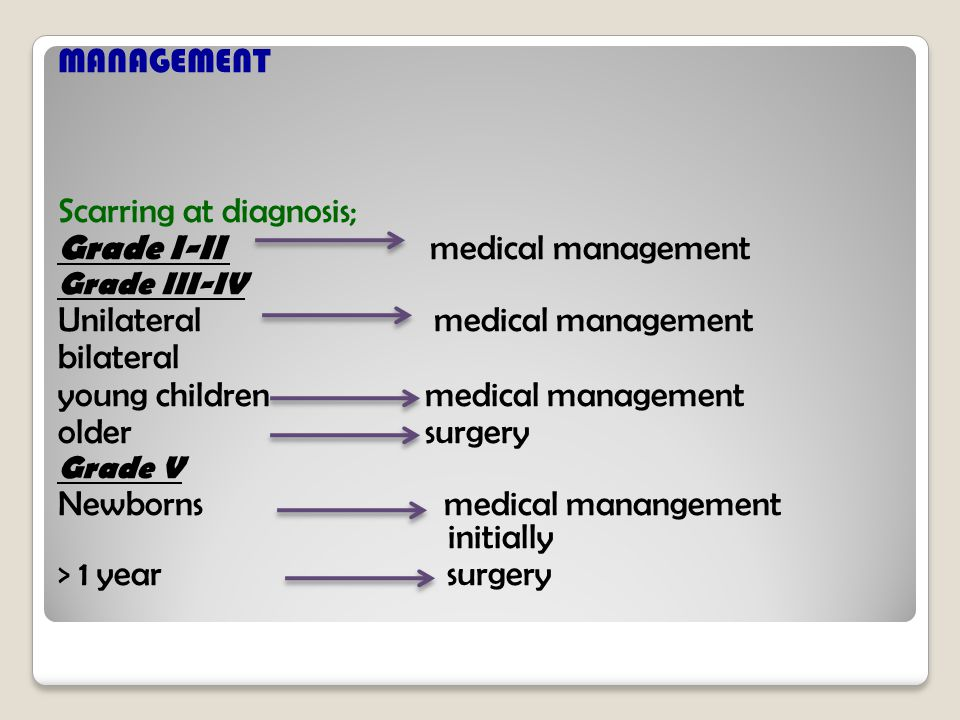 Scarring at diagnosis; Grade I-II medical management