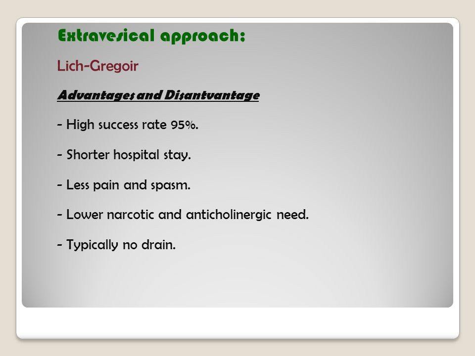 Extravesical approach;