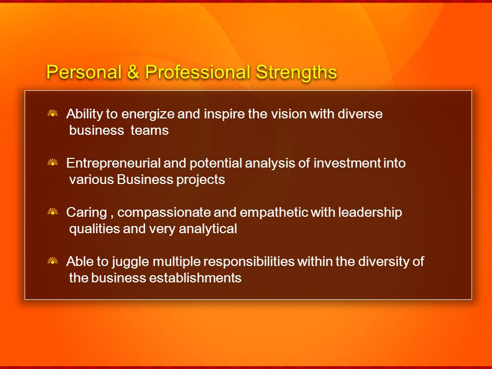 Personal & Professional Strengths