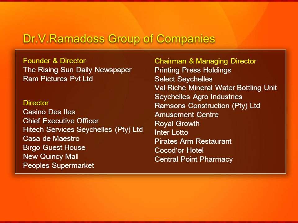 Dr.V.Ramadoss Group of Companies