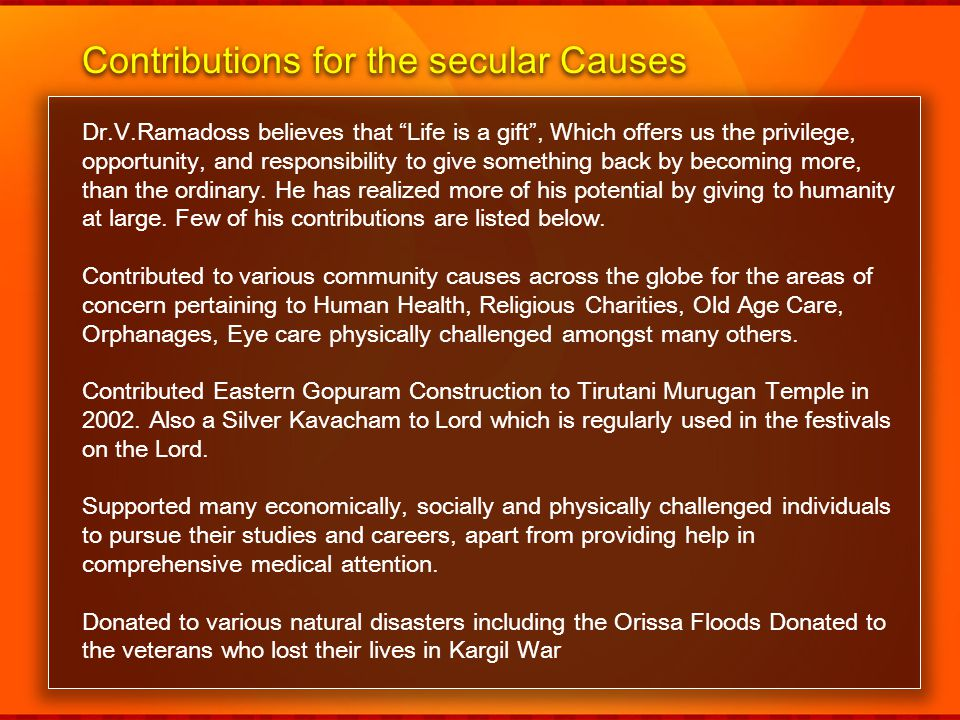 Contributions for the secular Causes
