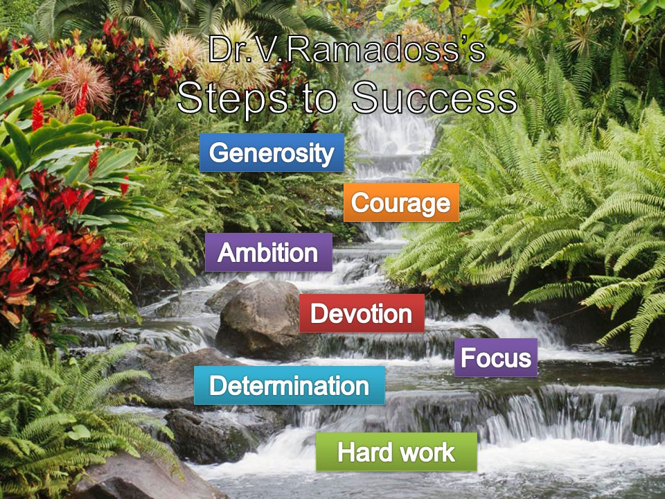 Steps to Success Dr.V.Ramadoss's Generosity Courage Ambition Devotion
