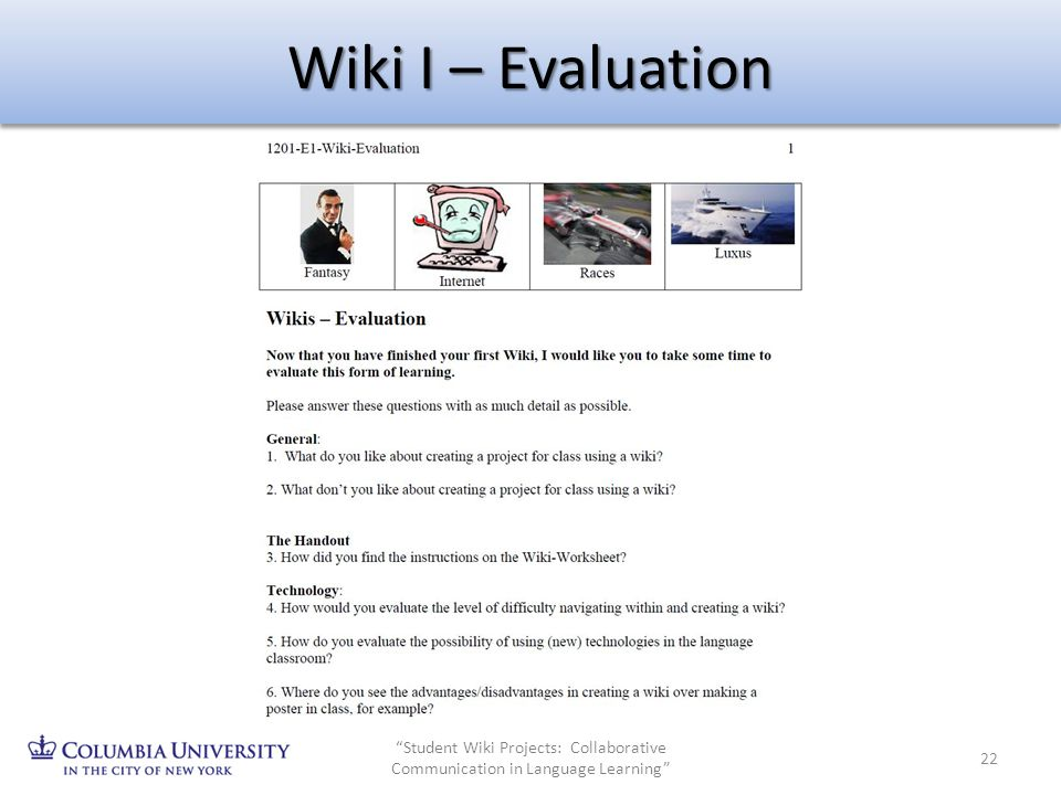 Wiki I – Evaluation Student Wiki Projects: Collaborative Communication in Language Learning