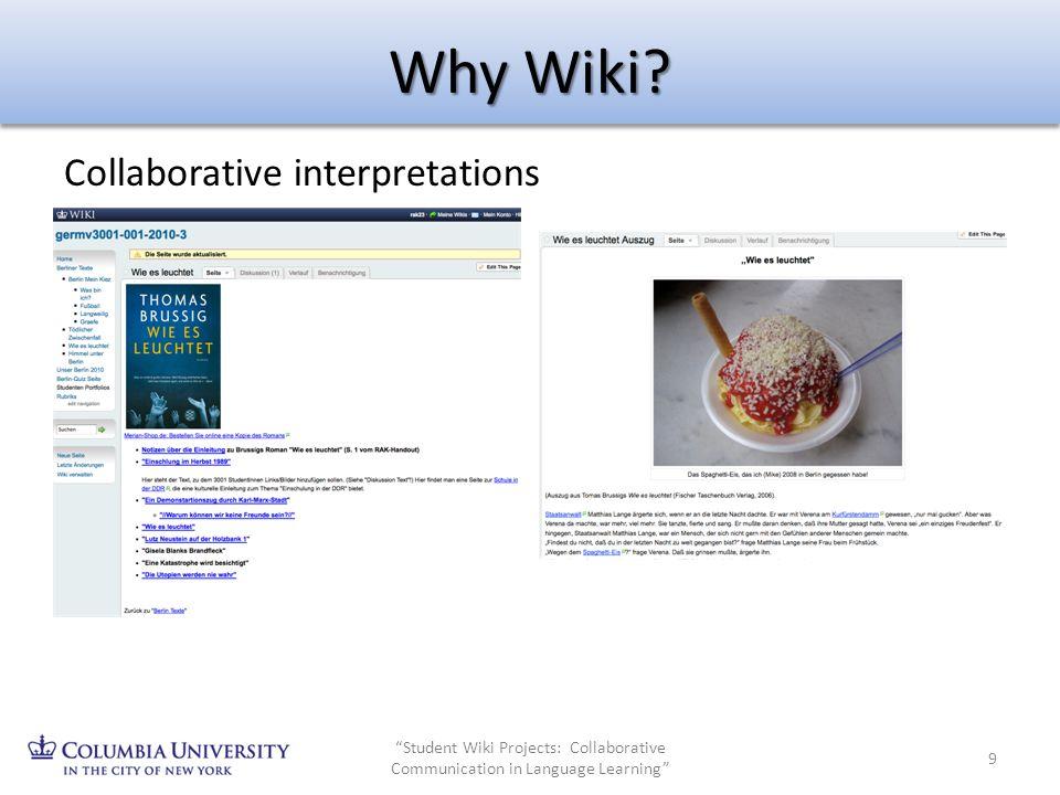Why Wiki Collaborative interpretations