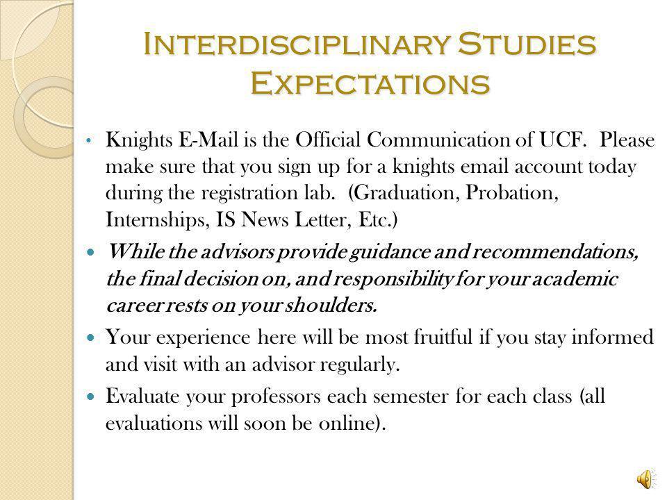 Interdisciplinary Studies Expectations