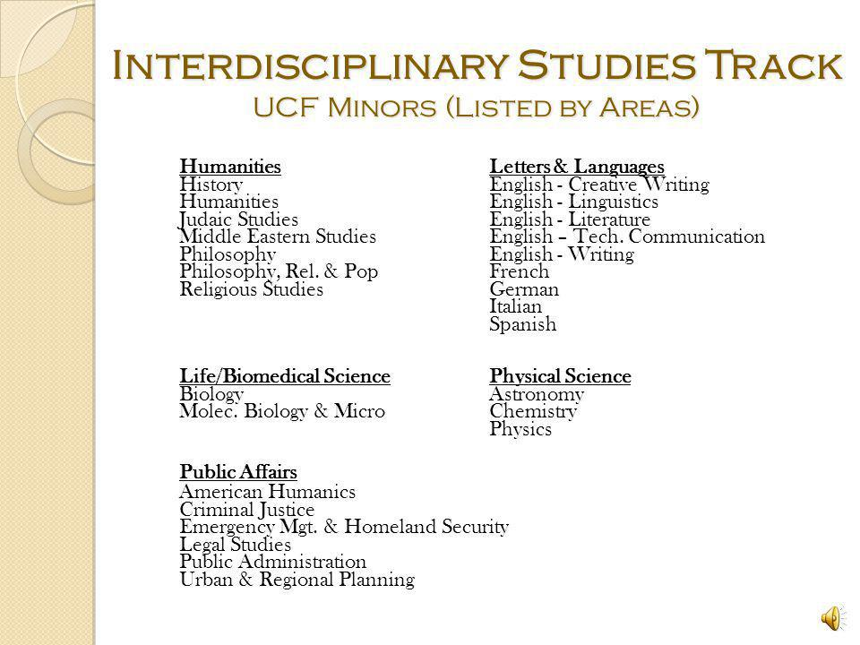 Interdisciplinary Studies Track UCF Minors (Listed by Areas)