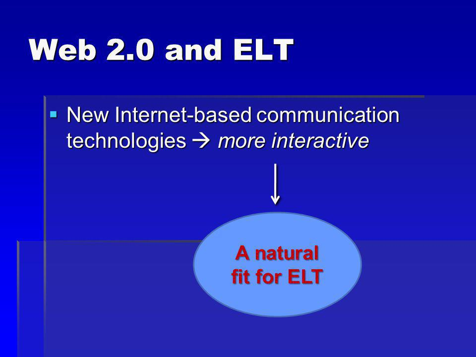 Web 2.0 and ELT New Internet-based communication technologies  more interactive.