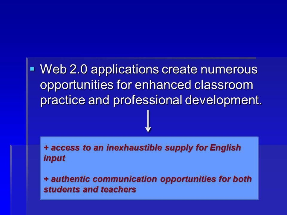 Web 2.0 applications create numerous opportunities for enhanced classroom practice and professional development.